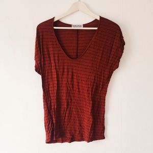 Urban Outfitters Brick Red Stripe T Shirt